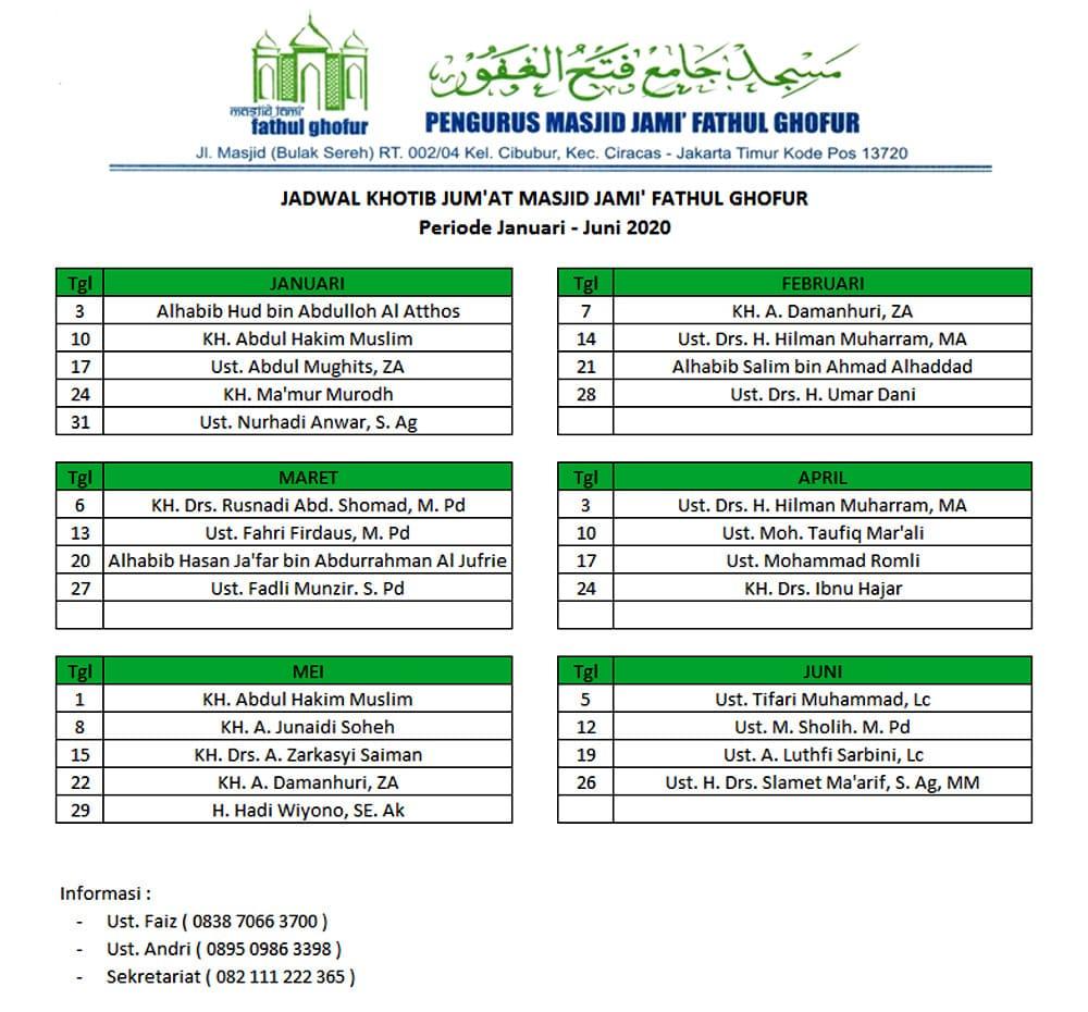 Jadwal-Khatib-Jum'at-Masjid-Jami'-Fathul-Ghofur-Periode-Januari - Juni-2020
