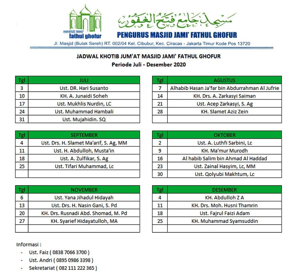 Jadwal-Khatib-Jum'at-Masjid-Jami'-Fathul-Ghofur-Periode-Juli-Desember-2020